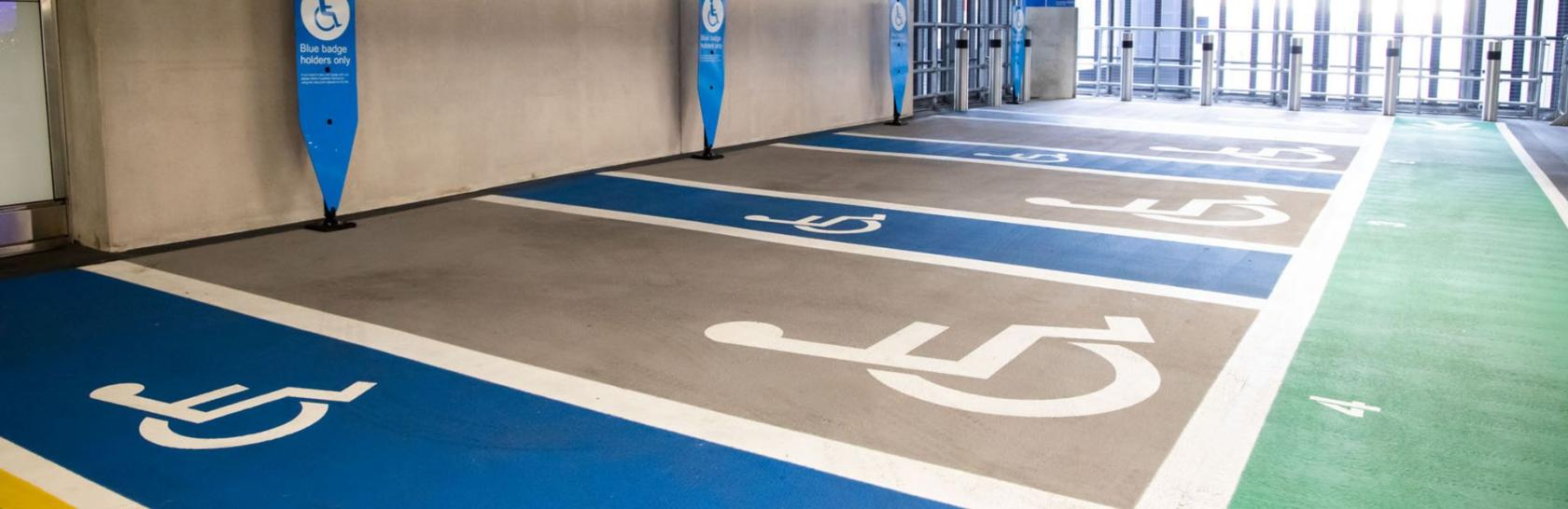 Disabled parking bays in car park